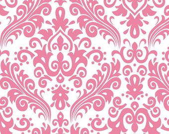 Large Damask Pink on White Cotton Woven Fabric by Riley Blake