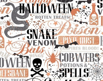 Potions and Spells Copper metallic words on white cotton fabric, Quilting Treasures