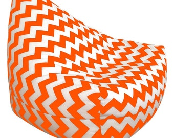 Orange Chevon Bean Bag Chair