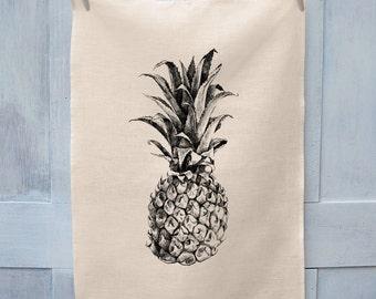 Pineapple Illustration Tea Towel