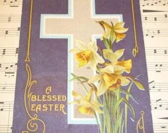 Daffodils and Cross on Pretty Purple Antique Postcard
