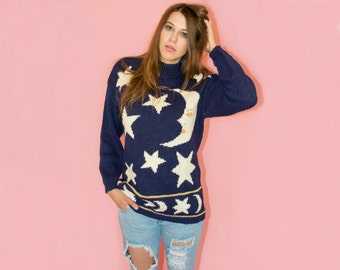 Vintage Witchy Sweater Moon and Star Celestial Sweater 90s Contempo Casuals Vintage Occult Grunge Goth 90s Clothing