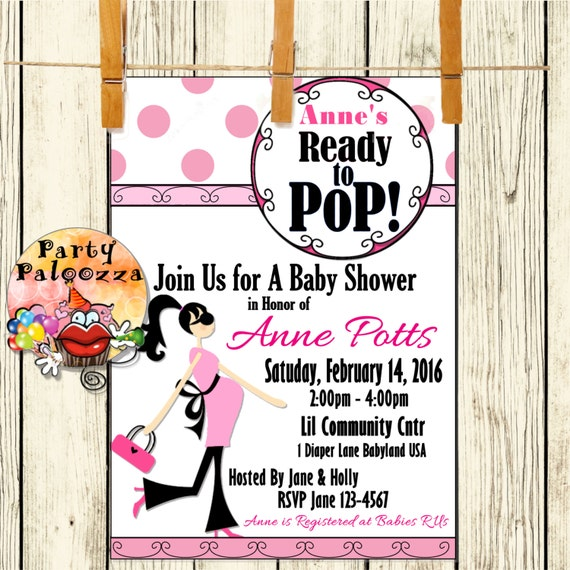 printable ready to pop baby shower invitation by partypaloozza