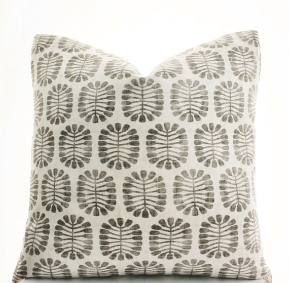 Block Print Inspired Pillow Cover, Handmade, Black, Gray, White, Various Sizes, 18x18, 20x20, 22x22