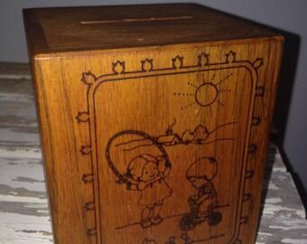 Wooden Toystalgia Music Box Bank 1979 Johannes Brahms Lullaby