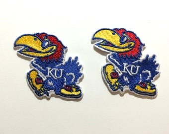 2 Kansas Jayhawks embroidered Iron on patches KU Iron On College patch Bright colors for addition Theme crochet , hats, clothing