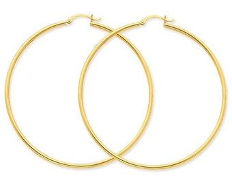 14K Yellow Gold Large Diameter Round Hoop Earrings 62mm x 2mm CKLT924