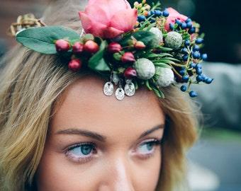 Bespoke Personalised Silver Charm Wedding Flower Crown