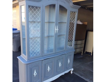 PORTFOLIO- French Provincial Grey and white  China Hutch