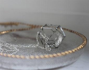 Geo Glitz Necklace - Silver, long silver necklace, geometric design, geometric shape, thin lightweight chain jewelry