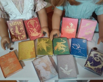 """Printable Andrew Lang Colored Fairy Books for 18"""" Dolls like American Girl Doll Accessories Fairy Tales School Supplies Victorian"""