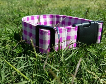 Purple Picnic Large Dog Collar / Dog Accessories / Hand Made / Australian Made / Puppy Collar / 38mm wide
