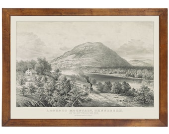 Lookout Mountain, TN 1866 Bird's Eye View; 24x36 Print from a Vintage Lithograph
