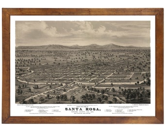 Santa Rosa, CA 1876 Bird's Eye View; 24x36 Print from a Vintage Lithograph