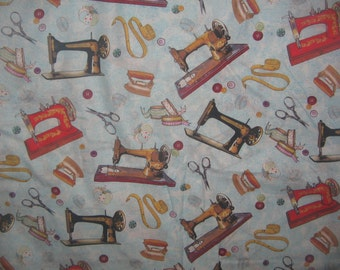 Retro Black Red Sewing machine  Fabric Quilting Fabric fat quarter, by the yard