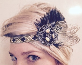 Great Gatsby, Golden flapper, roaring 20's, feather headband, headpiece, headdress,