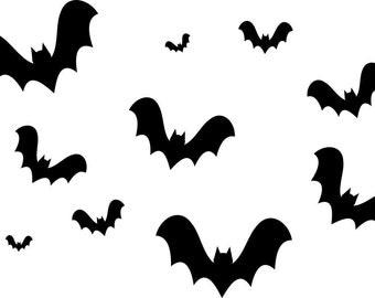 Halloween Bats Halloween Decor Bat Vinyl Decals Halloween Wall Decal Bat Decal Set Halloween Vinyl Decals Bat Decals Bat Wall Decals