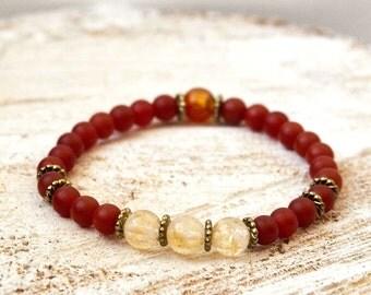Citrine Carnelian Reiki charged intention bracelet grounding creativity success strength protection chakra balancing