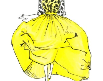 Voluminous Yellow Dress Watercolor Fashion Illustration