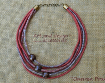 Rope necklace-handmade statement necklace-fiber art jewelry-boho style necklace-eco friendly