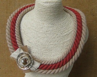 Unique ropes necklace-Handmade jewelry- Beige and terracotta necklace-eco friendly