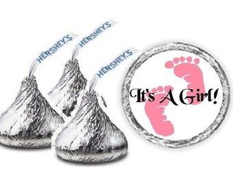 108 It's A Girl Pink Baby Footprints Baby Shower Hershey Kiss Candy Label Wrapper Favors Stickers