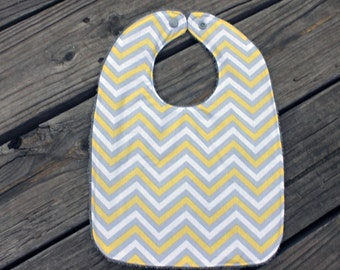 Infant/Toddler Bib with Monogram, bib and burp cloth, monogrammed burp cloth, chevron stripes, gray and yellow, gender neutral, baby gift
