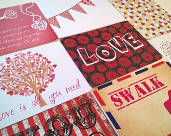 16 Printed Journalling cards: 8 Love Valentines + 8 Random