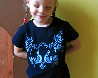 HAND PAINTED hungarian FOLK art T-shirt with blue flowers and birds (Matyo) from Hungary