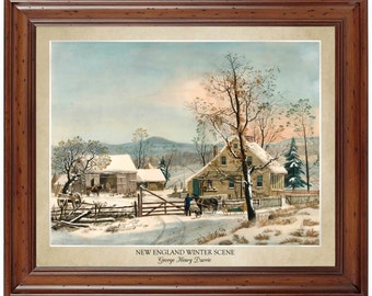 New England Winter Scene by George Henry Durrie (1858); 16x20 print displaying the artist's name and title of painting