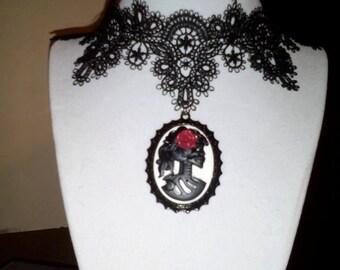 skull cameo lace chocker