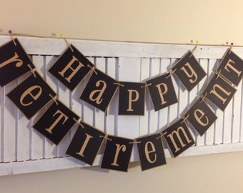 Happy Retirement Banner Sign Bunting Garland Decoration Black Primitive Party Decor