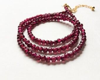 Garnet Bracelet- Triple Wrap Bracelet- Beaded Bracelet- Gemstone Bracelet- January Birthstone Jewelry