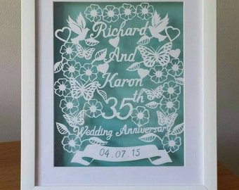 Wedding, 1st anniversary Special anniversary Hand made and hand cut paper art 'To have and to hold' wedding gift...2 Designs please look.