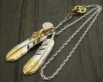 """Silver 925 feather necklace """"Nail of an eagle""""#95JAPAN"""