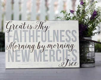 "Great is Thy faithfulness, Hand painted wood sign, Christian wall art, Hymn, Measures 10.5"" x 16"""