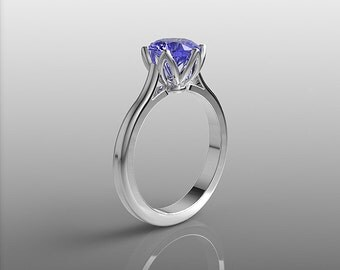 14k white gold engagement ring with 7mm round Tanzanite, wedding ring, promise ring, anniversary ring, solitaire ring, floral ring, R-104