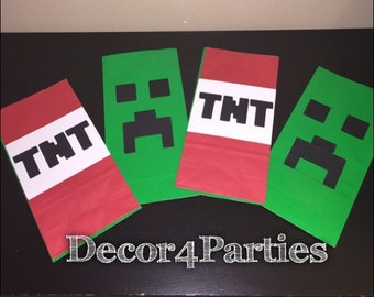 Minecraft Favor bags, creeper Party bags, and Minecraft tnt Birthday Goodie bags (5 bags of each making 10 in total)