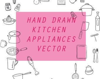 Kitchen Appliances hand drawn Clip art (28 elements Clip Art)