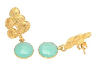 Earring 925 Sterling Silver Aqua Chalcedony gemstone Earrings-Vermeil Gold