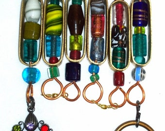 Six Etched Brass Rings Glass Beaded Jeweled Handmade Rain Chain