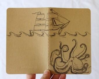 Moleskine Octopus Notebook, Hand Painted Ship Journal, Nautical Pocket Sketchbook