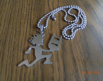 "ICP HATCHETMAN Polished Stainless Steel ""Juggalo Championship Wrestling"" pendant w/30 inch 3mm ball chain"