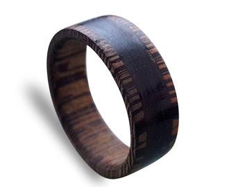 Wenge wood men ring with wrapped macassar ebony wood ring, unisex ring, Wooden ring
