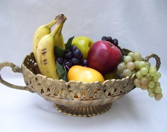 Brass Grape Fruit Bowl Compote Large Andrea by Sodek