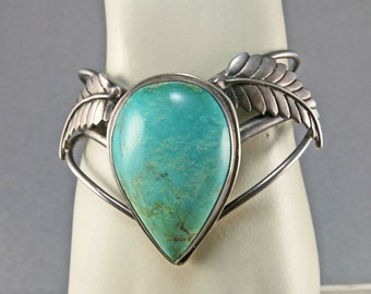Vintage Native American Turquoise Cuff Sterling Bracelet Ethnic Jewelry Tribal Jewelry Antique Collectibles