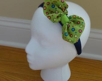 Fun Polka Dot Satin Bow Headband