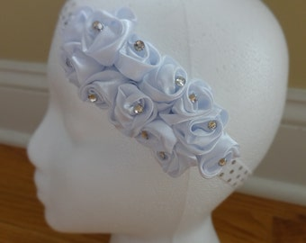 Elegant Satin Flower and Rhinestone Headband
