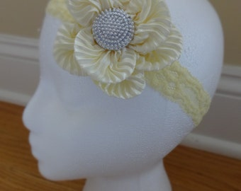 Elegant Satin and Lace Flower Headband