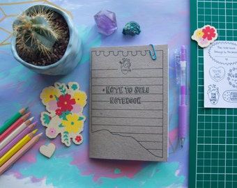 Note To Self Notebook | Positive, Motivational Notebook | A6 Handmade Notebook with stickers